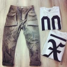 Pantalone cotone schizzi vernice