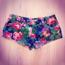 short with fantasy flowers