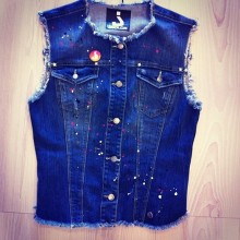 Jeans gilet with pockets