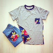 jeans con taschino fantasia e  t-shirt