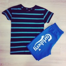 Bermuda blue and striped t-shirt