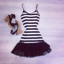 Black and white striped dress and sandals