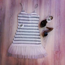 White and grey dress