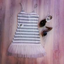 vestito bianco e grigio con pizzo