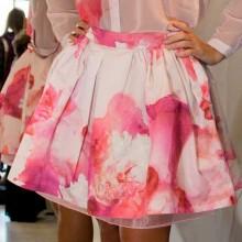 Gonna ampia stampa fiori rosa