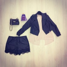 Short faux leather with black lace