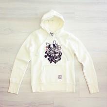Clear sweatshirt with print and hood