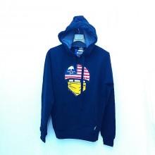 Blue sweatshirt with hood printed