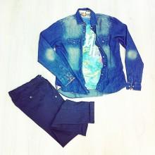 camicia in jeans slavata