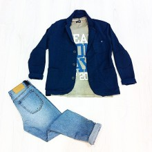 giacca blu con bottoni 40 weft